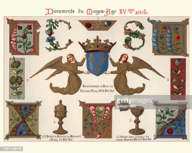 ilustraciones, imágenes clip art, dibujos animados e iconos de stock de ejemplos de artes decorativas medievales, mayúsculas, ángeles, corona - edad media