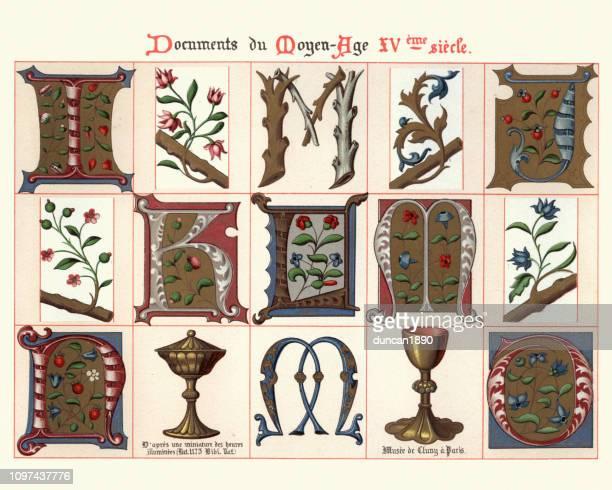 53 Medieval Illuminated Letter stockillustraties, clip-art