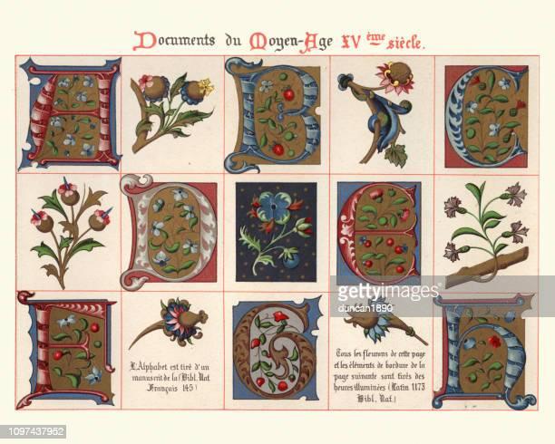 中世紀裝飾藝術的例子, 大寫字母, 花卉設計項目 - {{asset.href}} 幅插畫檔、美工圖案、卡通及圖標