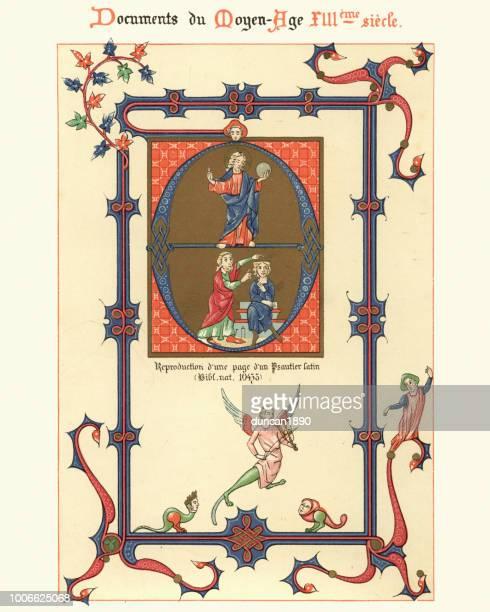 examples of medieval decorative art from illuminated manuscripts 13th century - manuscript stock illustrations