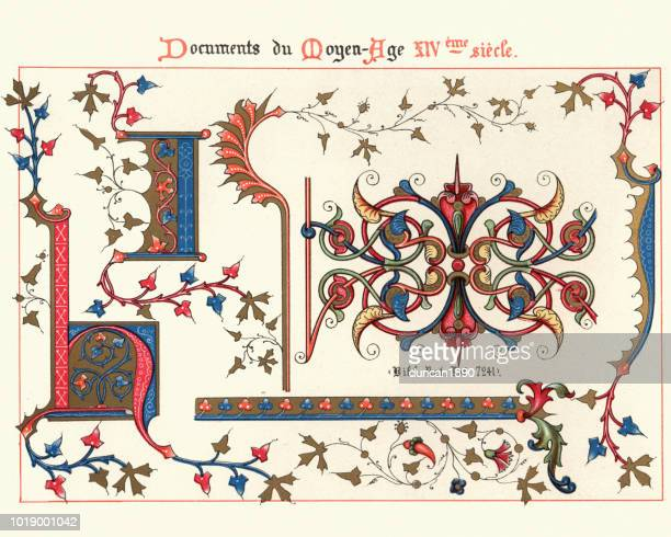 examples of medieval decorative art from illuminated manuscripts 14th century - medieval stock illustrations