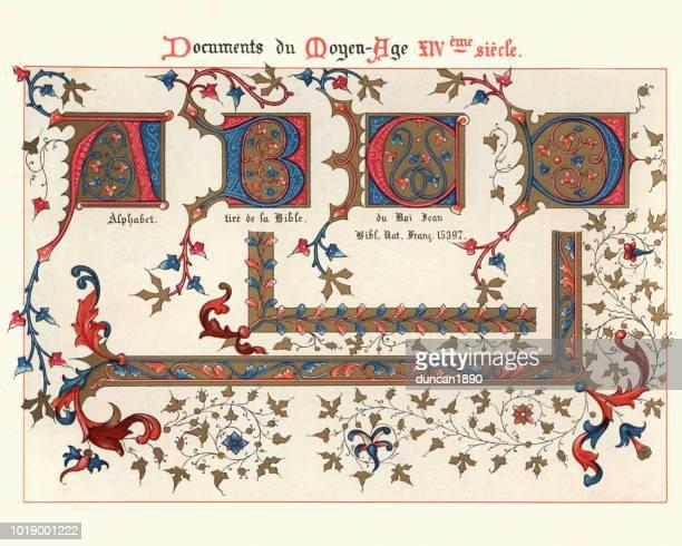 examples of medieval decorative art from illuminated manuscripts 14th century - circa 14th century stock illustrations