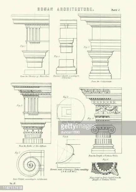 examples of roman architecture, column capitals and pediments - pediment stock illustrations, clip art, cartoons, & icons
