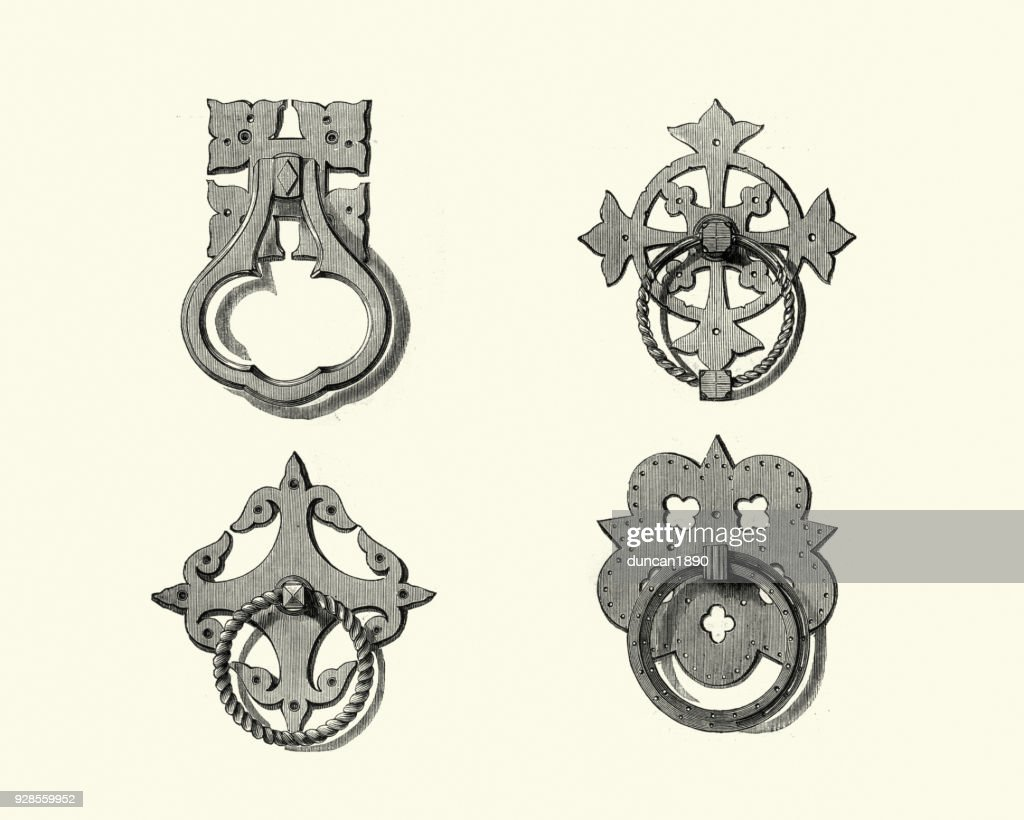 Examples Of Victorian Brass Door Knobs Mid 19th Century Stock ...
