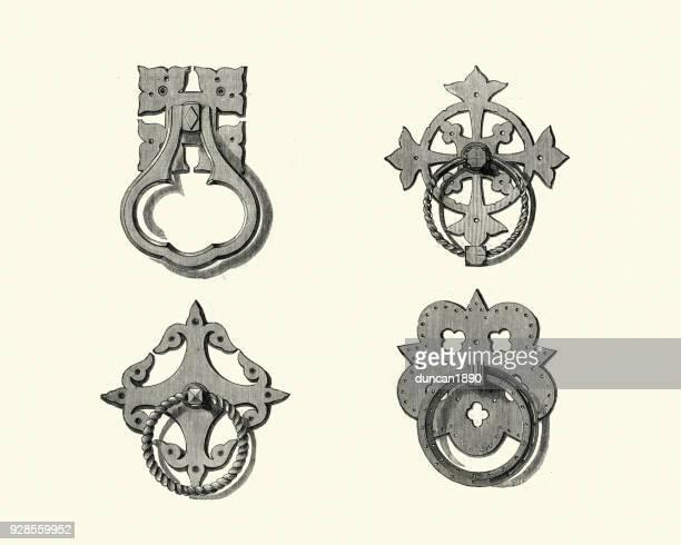 illustrations, cliparts, dessins animés et icônes de exemples de poignées de porte en laiton victorienne, au milieu du xixe siècle - marteaudeporte
