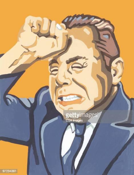 exasperated businessman - spleen stock illustrations