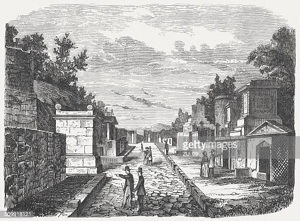 excavated tombs in pompeii - tourists in the 19th century - naples italy stock illustrations