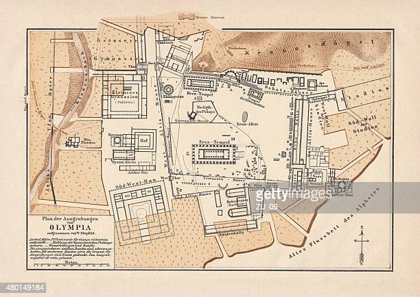 excavations of olympia, lithograph, published in 1880 - archaeology stock illustrations