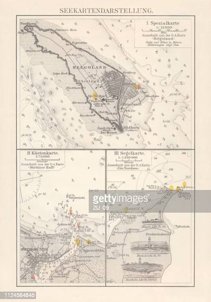 Excerpts of nautical charts, lithograph, published in 1897