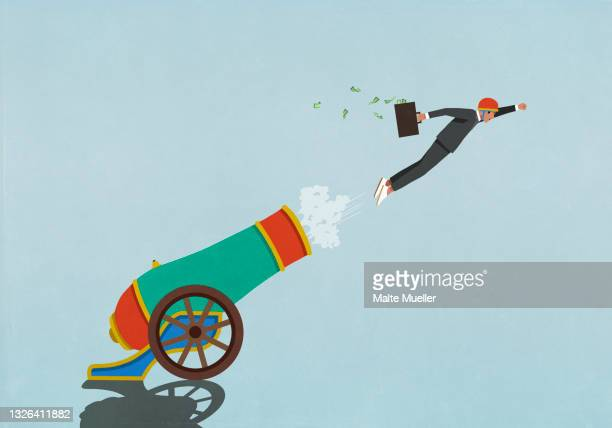 excited businessman with money briefcase flying out of cannon - opportunity stock illustrations