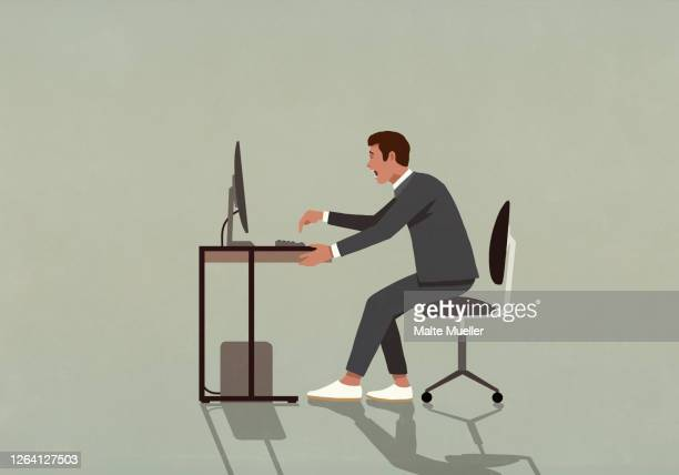 excited businessman working at computer - one man only stock illustrations