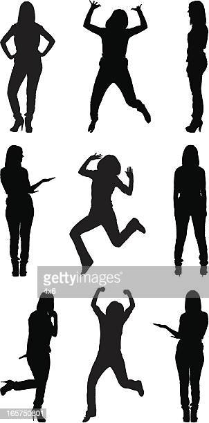 excited casual women - hand on hip stock illustrations, clip art, cartoons, & icons