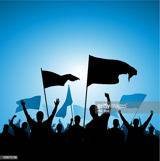 excited fans with banners - protest stock illustrations, clip art, cartoons, & icons