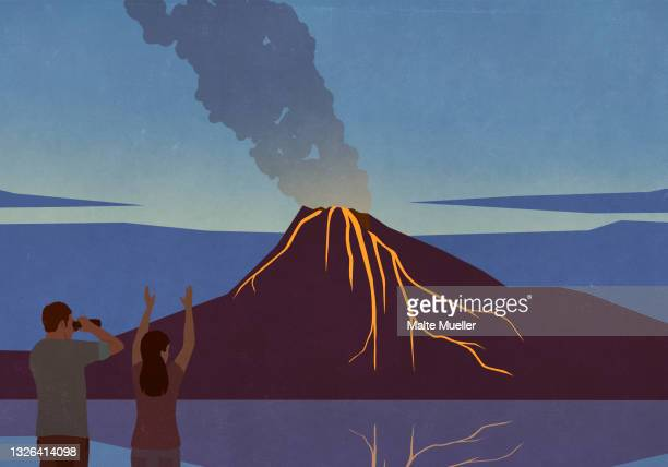 excited tourists watching volcano eruption - exploration stock illustrations