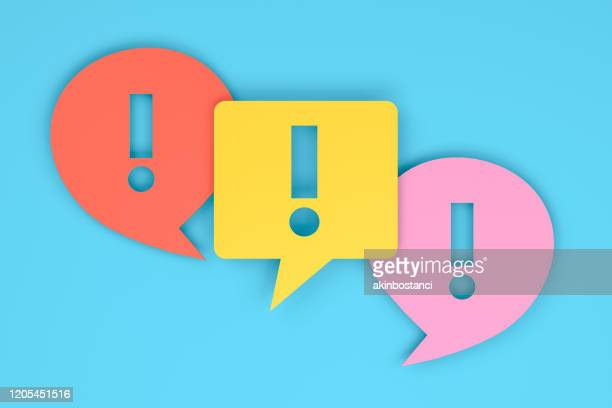 exclamation mark on speech bubble - exclamation mark stock illustrations