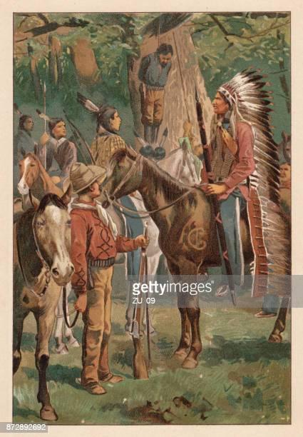 インディアン、リトグラフ、発行 1890 によって強盗の実行 - 酋長点のイラスト素材/クリップアート素材/マンガ素材/アイコン素材
