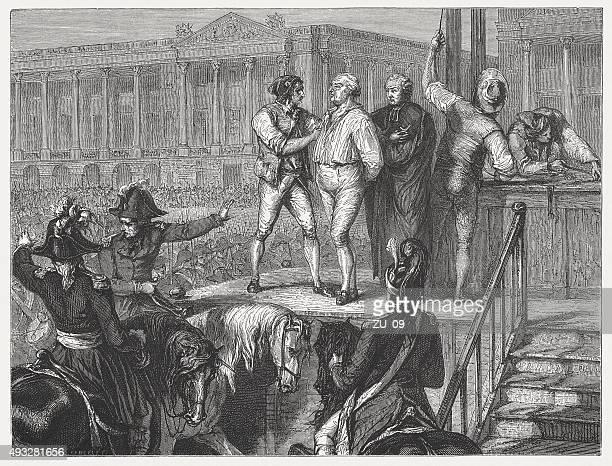 ilustraciones, imágenes clip art, dibujos animados e iconos de stock de ejecución de luis xvi, publicado en 1871 - cultura francesa