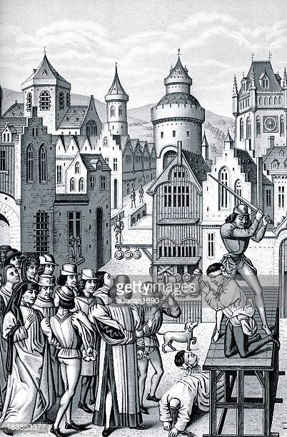 execution of guillaume de pommiers - aquitaine stock illustrations, clip art, cartoons, & icons