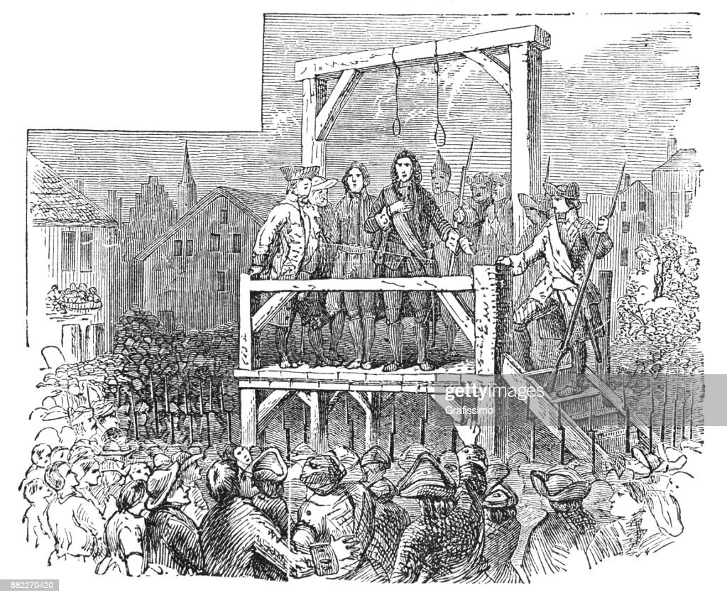 Execution of Jacob Leisler on 16 May 1691 in New York : Stock Illustration