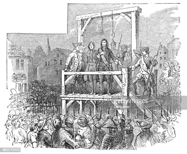 ilustraciones, imágenes clip art, dibujos animados e iconos de stock de ejecución de jacob leisler el 16 mayo de 1691 en nueva york - ejecución pública