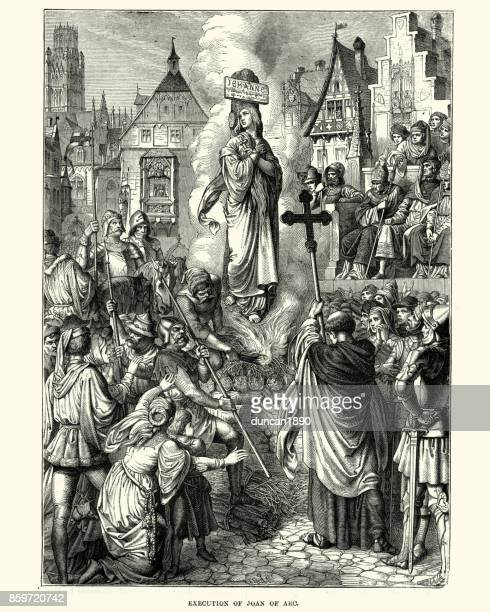 execution of joan of arc - st. joan of arc stock illustrations