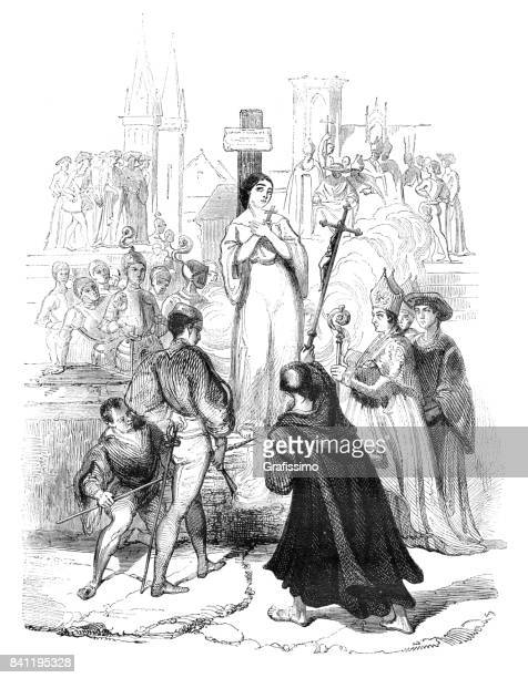 execution of joan of arc or jeanne d'arc in france burned at the stake 1431 - st. joan of arc stock illustrations
