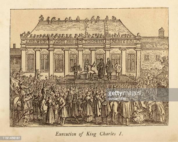 ilustraciones, imágenes clip art, dibujos animados e iconos de stock de ejecución del rey carlos i de inglaterra - ejecución pública