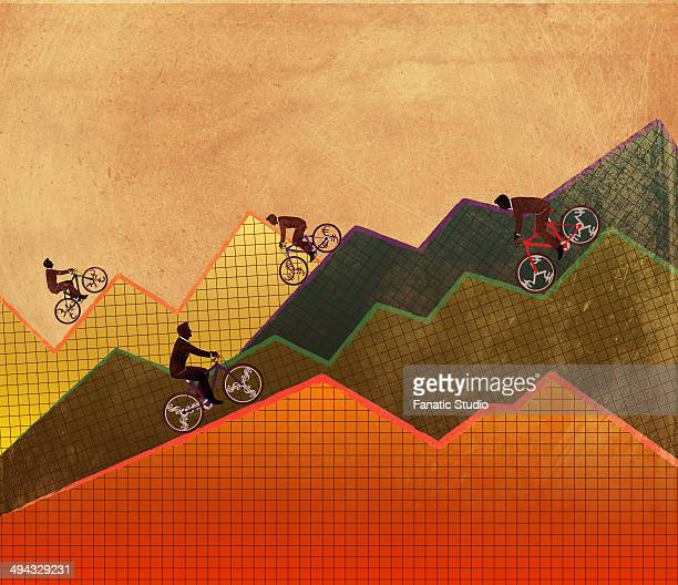 executives riding mountain bike up and down representing the concept of ups and downs of business - stock market crash stock illustrations