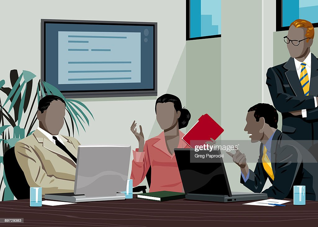 Executives talking in conference room : stock illustration