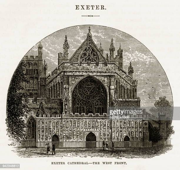 Exeter Cathedral in Exeter, Devon, England Victorian Engraving, 1840