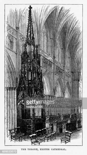 exeter cathedral throne in exeter, devon, england victorian engraving, 1840 - spire stock illustrations, clip art, cartoons, & icons