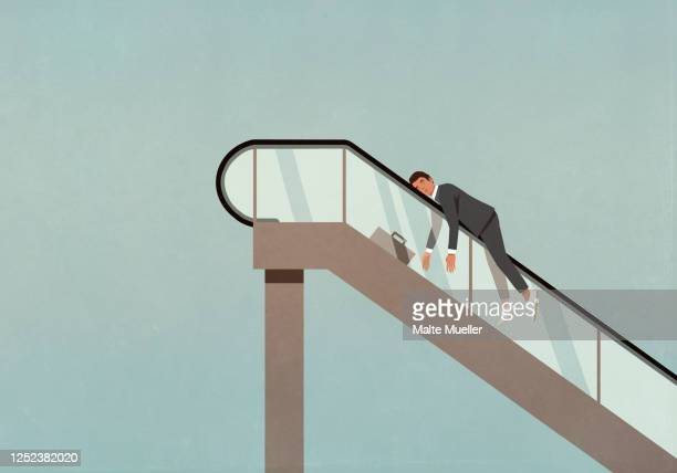 exhausted businessman on ascending escalator - overworked stock illustrations