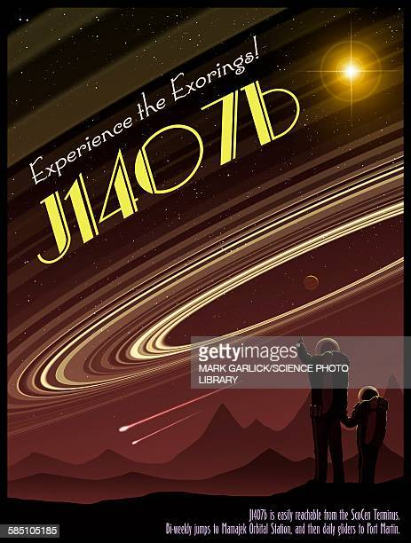 exoring j1407b - travel poster - old fashioned stock illustrations