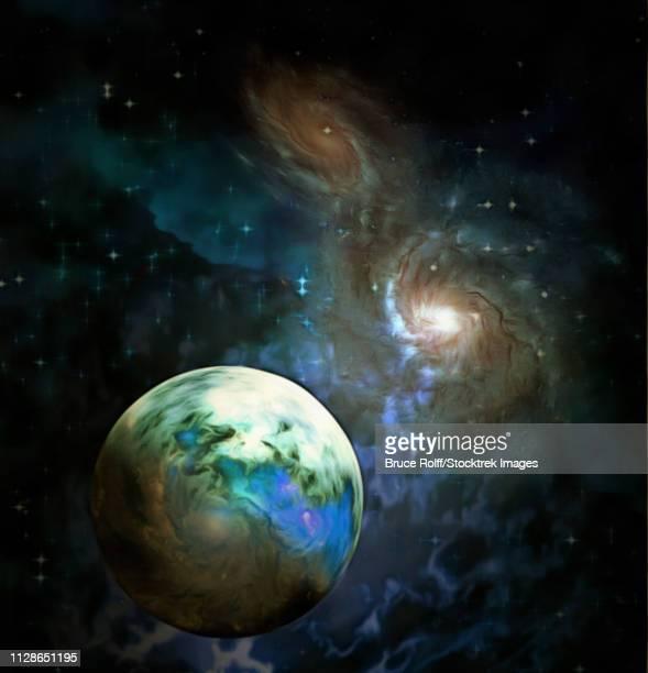 ilustraciones, imágenes clip art, dibujos animados e iconos de stock de exo-solar planet painting - galaxiaespiral