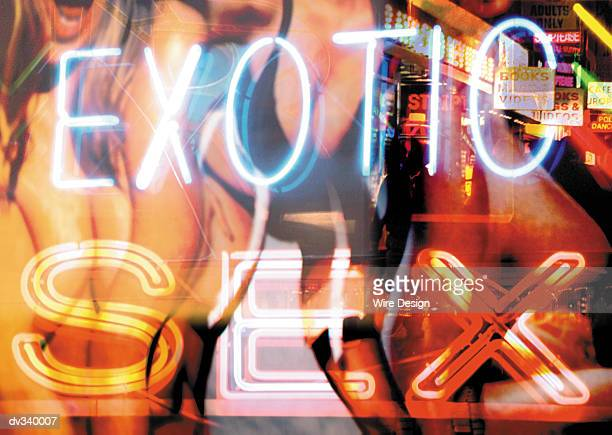 Exotic sex in neon superimposed over women and signs