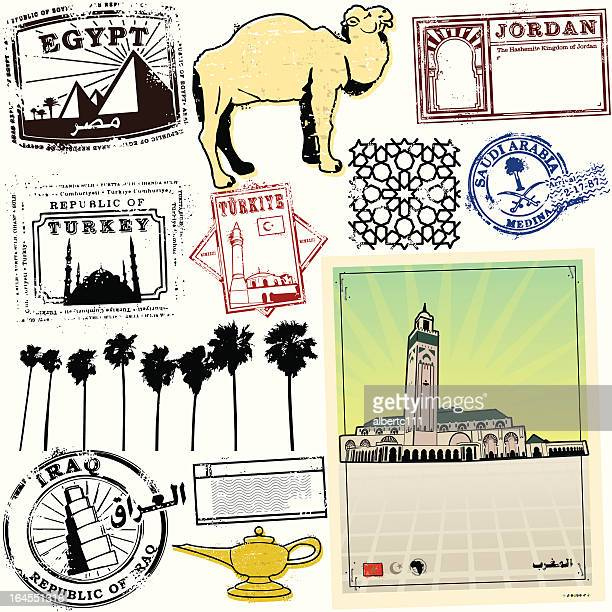 exotic stamps of the middle east - morocco stock illustrations, clip art, cartoons, & icons