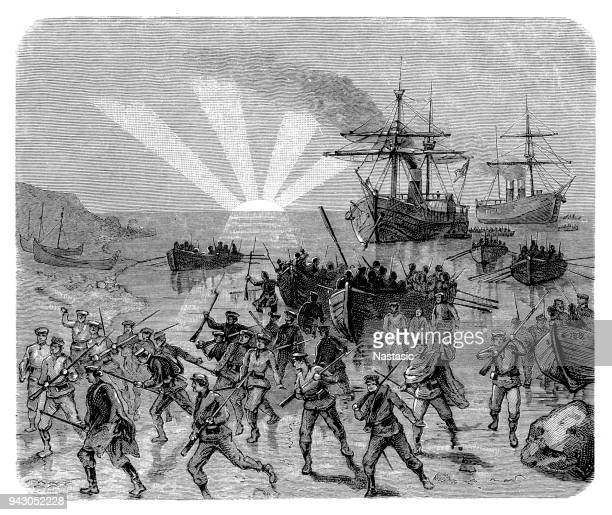 expedition of the thousand, 1860, landing of giuseppe garibaldi and his troops at marsala, sicily, 11.5.1860 - sicily stock illustrations, clip art, cartoons, & icons