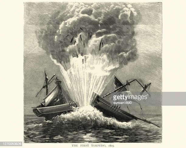 experimental use of robert fulton's torpedo, sink a ship, 1805 - us military stock illustrations