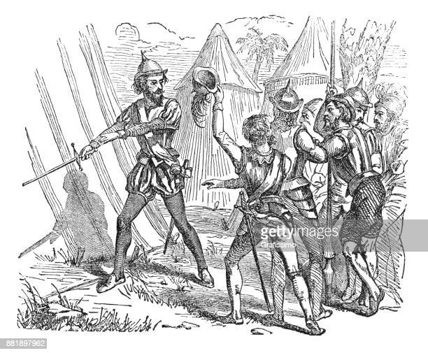 explorer and conquistador pizzaro with soldiers in mexico 1873 - inca stock illustrations, clip art, cartoons, & icons