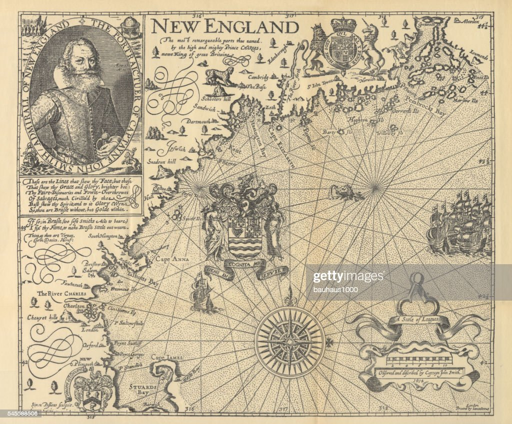 Explorer John Smith Map of New England, Circa 1624 : Stock Illustration