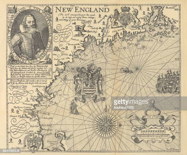 explorer john smith map of new england, circa 1624 - cartography stock illustrations
