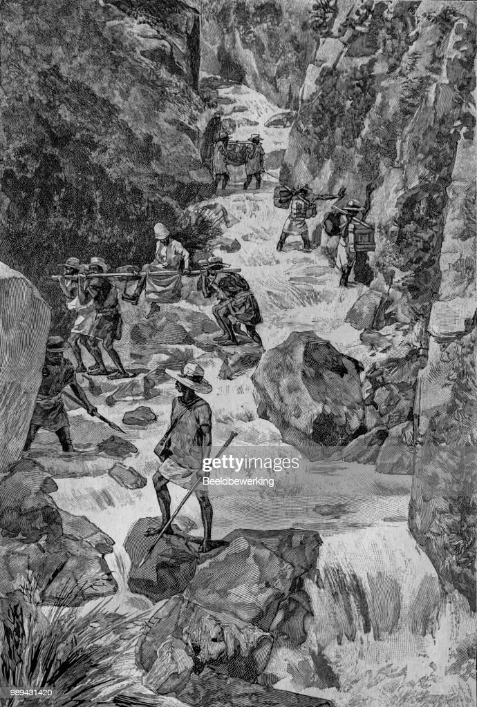 Explorer On Sedan Chair Carried Over The Rapids High Res Vector Graphic Getty Images