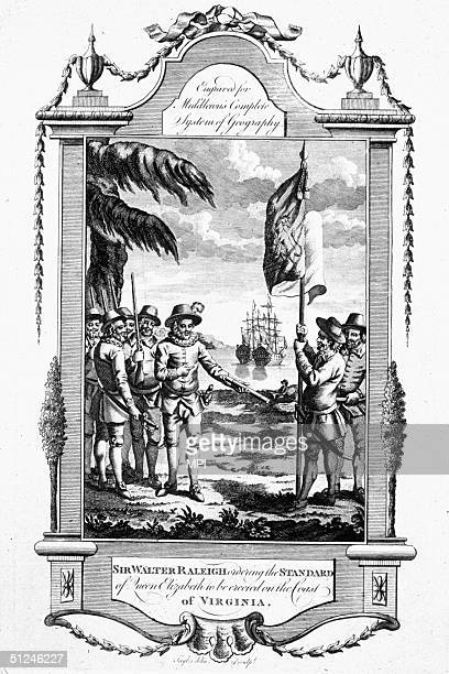 Explorer Sir Walter Raleigh planting the English flag in the colony of Virginia in North Carolina.