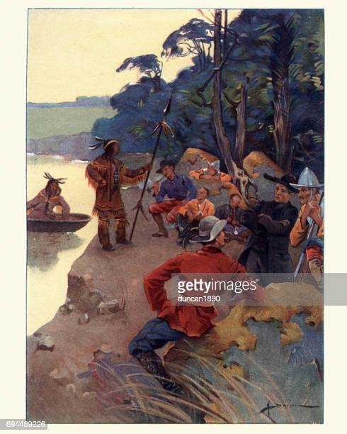 explorers on the shores of the saint lawrence river - indigenous north american culture stock illustrations, clip art, cartoons, & icons