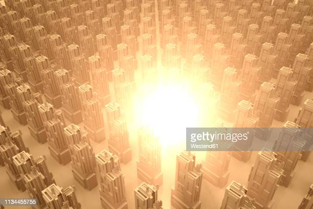 Explosion or energy burst in a conceptual city, 3D Rendering