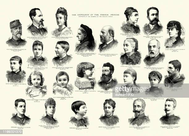 explusion of the french princes, house of orleans - princess stock illustrations