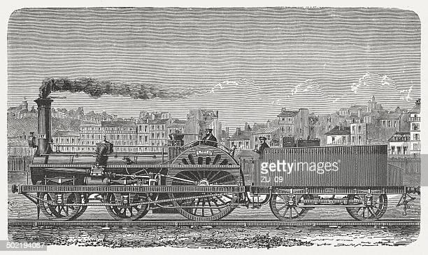 ilustraciones, imágenes clip art, dibujos animados e iconos de stock de express locomotora en el siglo xix, publicación 1880 - revolucion industrial