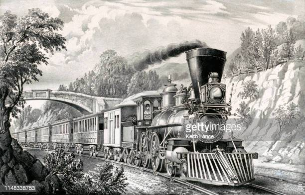 express train - 19th century stock illustrations