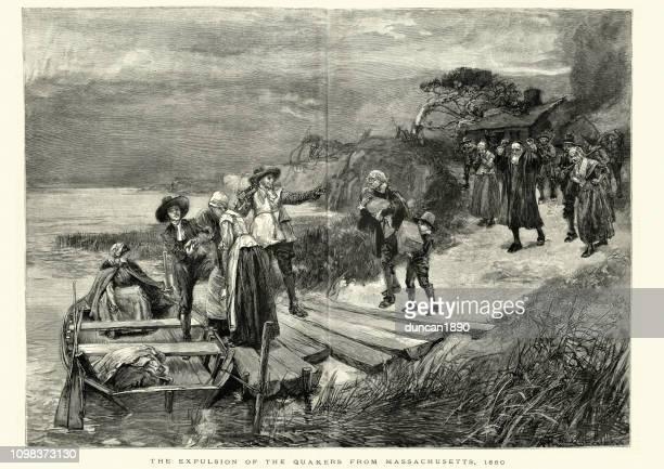 expulsion of the quakers from massachusetts, 1660 - quaker stock illustrations