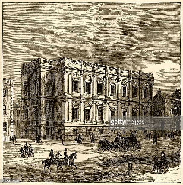exterior of the banqueting house, whitehall - banqueting house whitehall stock illustrations